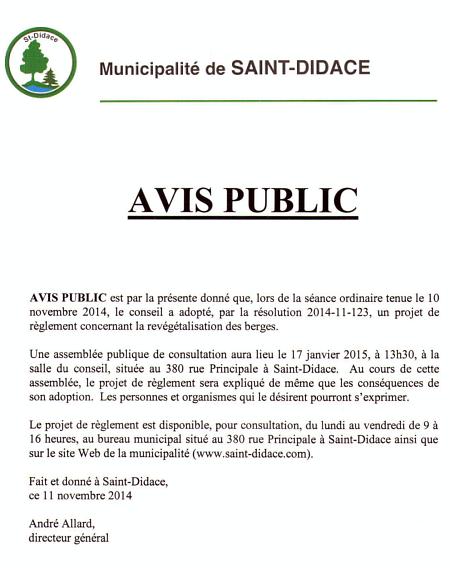 AVIS PUBLIC concernant la revégétalisation des berges