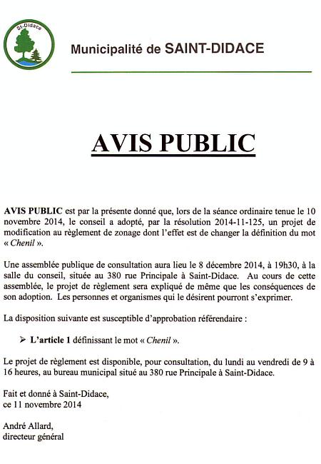 AVIS PUBLIC concernant les chenils