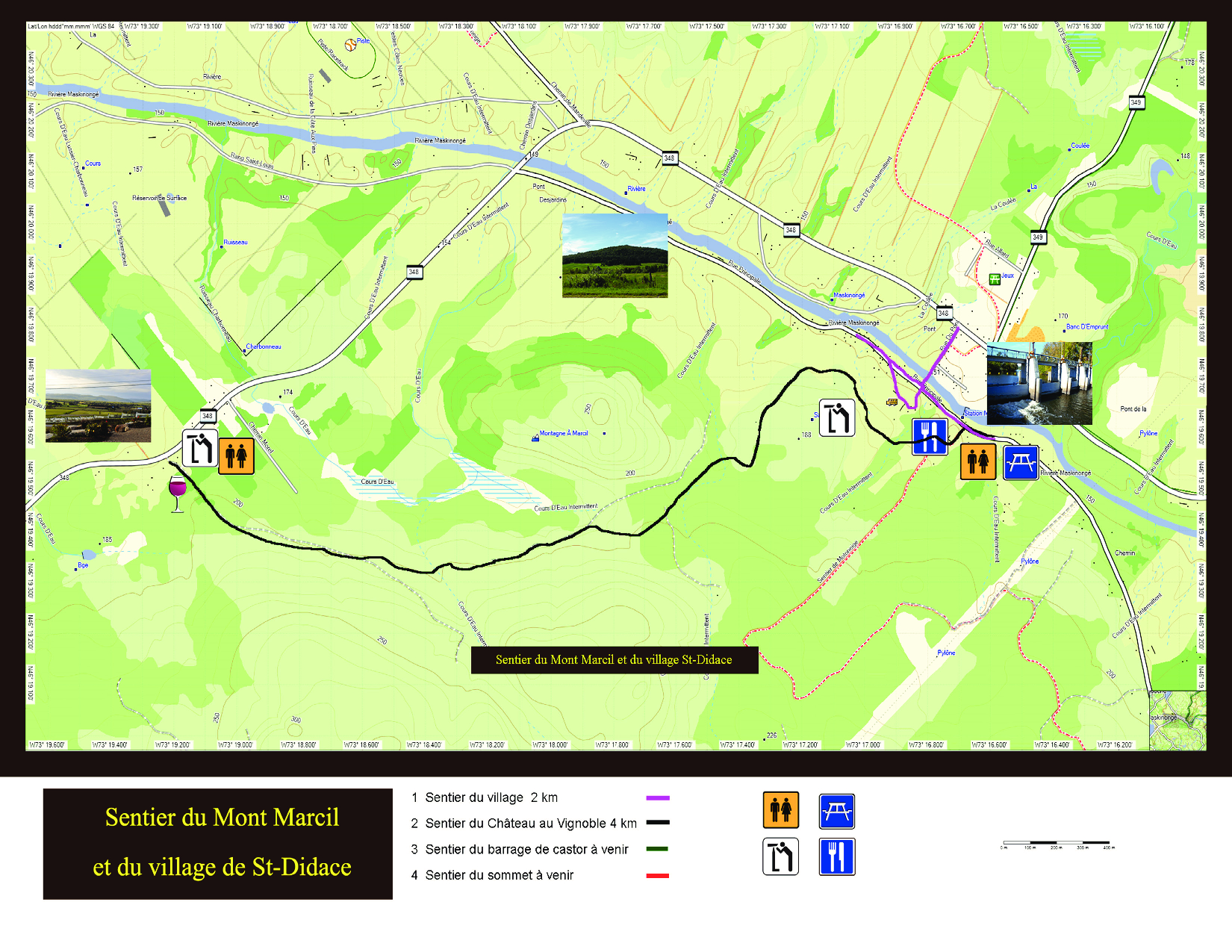 Carte des sentiers et du village de Saint-Didace.