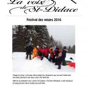 La Voix de St-Didace – Mars 2016 – Volume 11, No 2 (page couverture)