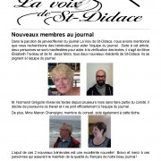 La Voix de St-Didace – Avril 2016 – Volume 11, No 3